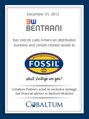 Cobaltum Partners advises Bentrani Watches on Sale to Fossil, Inc.