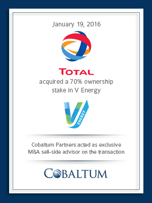 Cobaltum Advises on Sale of V Energy to TOTAL